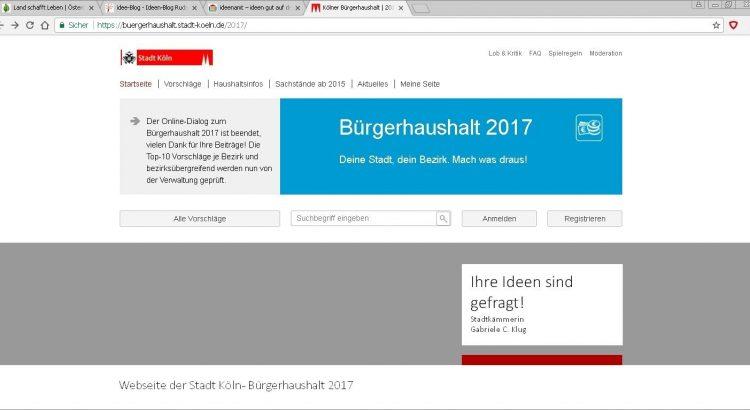 Webseite der Stadt Köln - Bürgerhaushalt